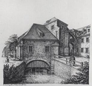 Rysunek H. Mützela z 1827 roku, przedstawiający budynek Czerpalni Kociej
