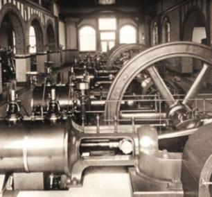 Zdjęcie z ok. 1905 roku, przedstawiające parowe agregaty pompowe w maszynowni zakładu Świątniki